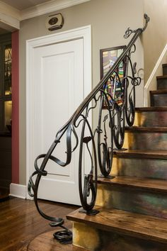 If you need the perfect railing to accent your stairs and interior design, CustomMade artisans can make it for you within your budget. Wrought iron, wood & more. Iron Staircase, Staircase Railings, Banisters, Stairways, Diy Design, Metal Handrails, Iron Art, Iron Gates, Architecture Details