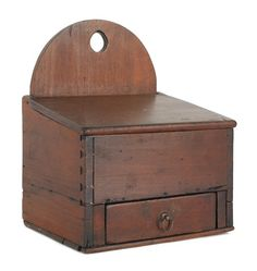 Pennsylvania pine hanging wall box, 19th c., with