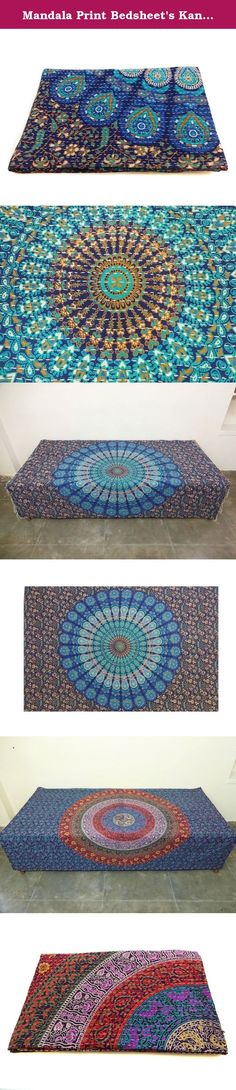 Mandala Print Bedsheet's Kantha Quilt Indian Handmade Cotton Bedspread Bed Throw Bedding Cover. Uses: Bedding,bed throw, bed spread, sofa cover, bed sheet, table cover, coverlet, curtains, wall hanging etc Material: 100% Cotton mandala tapestries. Size: 78 X 50 inches Weight: 0.85 Kg, 1.88 lbs ItemCode: IHHA03 Type: Quilt Work: Kantha process: Handmade Color: multi color Size: Twin Pattern: Floral Country: India Shipping From:India About New Mandala Bedsheet kantha quilt This New Bedsheet...