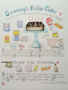 Illustrated recipes, hand lettering Old fashioned southern recipes