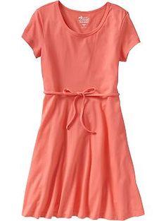 Girls Cap-Sleeve Jersey Dresses | Old Navy