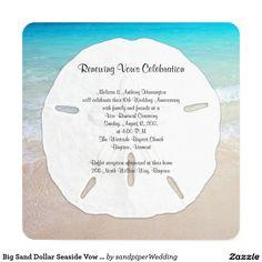 Shop Big Sand Dollar Seaside Vow Renewal Invitation created by sandpiperWedding. Vow Renewal Invitations, Cheap Wedding Invitations, Wedding Invitation Cards, Beach Invitations, Vow Renewal Beach, Vow Renewal Ceremony, Sand Dollar Wedding, 10th Wedding Anniversary, Anniversary Ideas