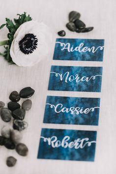 Elevated Nautical themed wedding. Deep navy blue and white watercolor place cards.