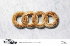 Audi's logo being recreated using food.
