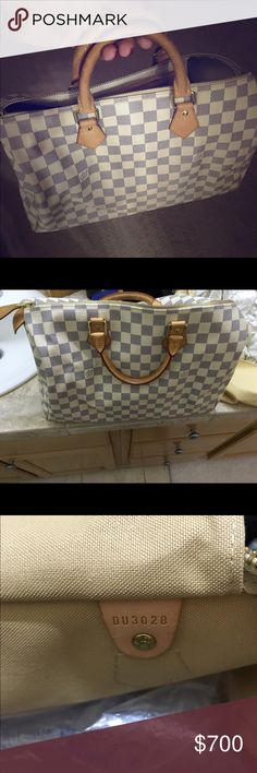 Louis Vuitton Speedy 35 Damier Azur Absolutely gorgeous Louis Vuitton Speedy 35 Damier Azur just in time for summer!  Purchased from Louis Vuitton in Portland.  Normal oxidation of leather handles, stored in dust bag in pet free, smoke free home.  Dust bag included! Louis Vuitton Bags