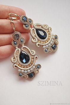 Новости Soutache Necklace, Tassel Earrings, Embroidery Jewelry, Beaded Embroidery, Fabric Jewelry, Boho Jewelry, Jewelry Tools, Jewellery Storage, Shibori