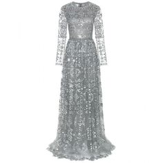 Valentino Embellished Tulle Gown ($23,490) ❤ liked on Polyvore featuring dresses, gowns, long dresses, valentino, grey, cocktail/gowns, grey evening gown, long grey dress, special occasion dresses and gray evening dress
