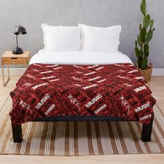 """Red Rock Pop R & B Music Text Pattern"" Throw Blanket by HavenDesign 