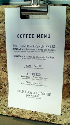 I love the small clipboards idea on the counter to… Coffee Shop Menu, Small Coffee Shop, I Love Coffee, Coffee Shops, My Coffee, Atlas Coffee, Bistro Restaurant, Menu Layout, Cafe Branding