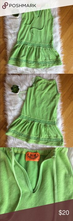 """Juicy Couture Lime Green Terry Cover Up Dress S In very good, pre-loved condition Juicy Couture Terry cover up Size Small  Approximate measurements (laying flat) 28"""" shoulder to hem 16"""" armpit to armpit  Smoke free home Juicy Couture Swim Coverups"""