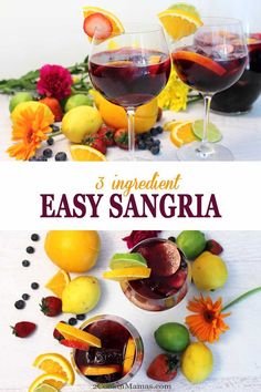 Our easy sangria can be ready for your next backyard BBQ in a matter of minutes. It has just 3 ingredients, an inexpensive red wine, Sprite & sliced fruit like oranges, lemons, limes and berries. See easy! It may just become your new favorite go-to summer cocktail. #cocktail #summercocktail #wine #drink