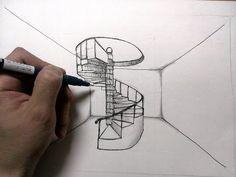 らせん階段を描く方法 How to draw a spiral staircase Staircase Tattoo, Staircase Drawing, Winding Staircase, Spiral Staircase, Staircases, Dark Staircase, Stairway, Interior Architecture Drawing, Architecture Concept Drawings