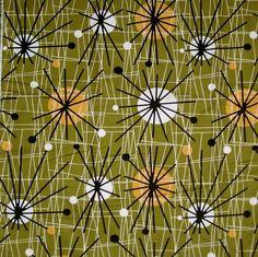 Atomic - funky vintage retro mid century Eames era olive green cotton fabric