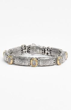 Konstantino 'Classics' Diamond Bracelet - Fluted gold frames the sparkling pools of diamonds stationed along this bracelet covered in Grecian reliefs.