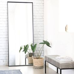 Tall black framed mirror by House Doctor. House Doctor is a family run Danish design brand, who focus on beautiful interiors to Wall Mirrors With Storage, Wall Mirror With Shelf, Small Wall Mirrors, Black Wall Mirror, Rustic Wall Mirrors, Contemporary Wall Mirrors, Round Wall Mirror, House Doctor, Entryway Mirror