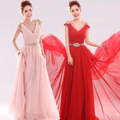 V-neck with short sleeve chiffon A-line bridesmaid dress