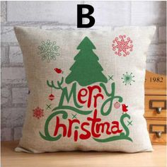 Christmas square linen pillow for home decoration