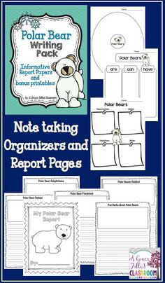 Polar Bear Writing Polar Bear Informational Writing Everything you need for your students to do their Polar Bear reports. It includes organizers and report pages with headings!