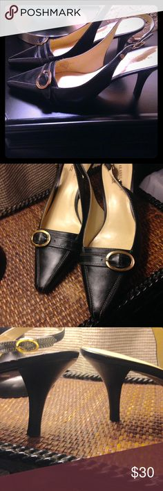 Anne Klein black sling backs. Well kept, rarely worn leather sling backs with small buckle. Heel appropriate for work and weekend events. Anne Klein Shoes Heels