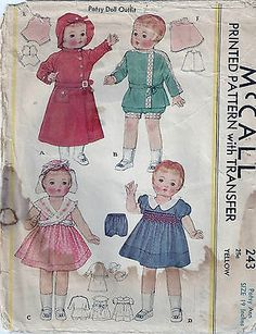 """VINTAGE RARE 1934 ORIG 19"""" PATSY ANN DOLL CLOTHES PATTERN 243"""