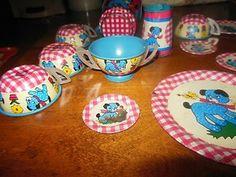 Ohio Art polka dot puppy 16pc Childs Tin Tea Set | eBay