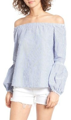 Women's Wayf Rushville Off The Shoulder Top Billowing bishop sleeves put a trendy twist on a cool summer classic, a shoulder-baring top made from pebbly seersucker with fresh blue-and-white stripes. Brand: WAYF. Style Name:Wayf Rushville Off The Shoulder Top.