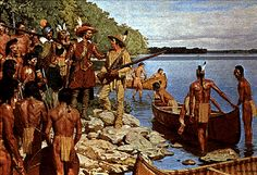 Etienne Brûlé with Samuel de Champlain and several Wendat Braves along a shoreline with canoes. Native American Tribes, American Indians, Algonquin Indian, Samuel De Champlain, Ontario Parks, France 2, Iroquois, Mountain Man, Les Oeuvres