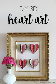 DIY 3D HEART ART FOR VALENTINE'S DAY || DIY 3D HEART ART || Valentine's Day craft || paper crafting