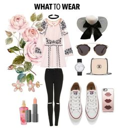 """""""What To Wear"""" by diego-zc ❤ liked on Polyvore featuring For Love & Lemons, Topshop, Converse, Elwood, Miss Selfridge, Chanel, Casetify, Christian Dior, Victoria's Secret and Easy Spirit"""