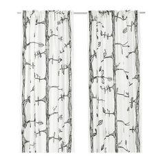 "Amazon.com - Ikea Thin Curtains 2 Panels 57x98"" White Black Tree Bird Modern Window Drapes Eivor - Window Treatment Curtains (dining room?)"