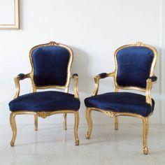 Navy velvet arm chairs