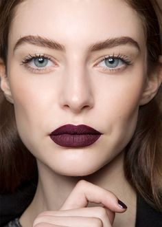 Deep berry lips look best with otherwise nude makeup - leave brows and eyes undone or with barely-there nudes and anyone can pull off a bold lip. Just remember, dark colours visually shrink lips so go for brights if you have thin lips.