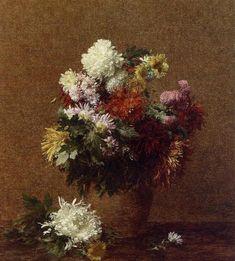 Large Bouquet of Chrysanthemums - Henri Fantin-Latour