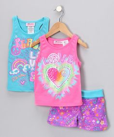 Comfy convenience is always on the menu with this set. Shorts with an elastic waistband and funky print will be easy to wear and easy to pair with the included tanks. Girls can shake up their options by choosing from a traditional or racerback tank. Includes two tanks and shorts60% cotton / 40% polyesterMachine wash; tum...