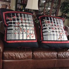 Convergence quilt made into floor pillows.