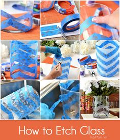 DIY Chevron etched glass vase tutorial as taught by TidyMom!
