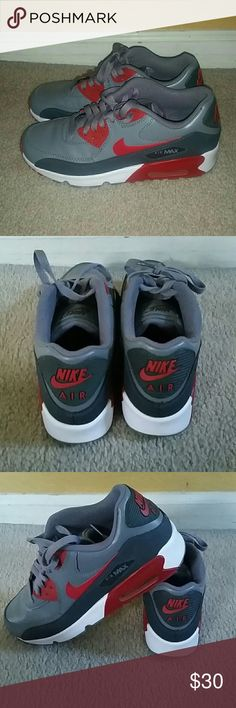 Nike air max 90 lightly worn two time Gray white and red nike Shoes Athletic Shoes