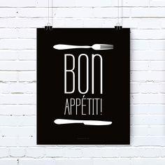 Plakat z napisem: Bon Appetit! – czarny
