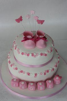 Girls christening cake with sugar booties  #E&Gcakes