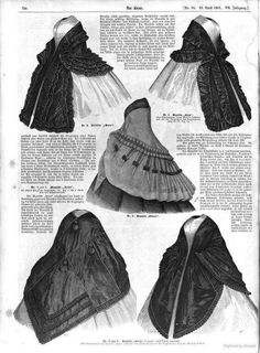 Mantillas and wraps. Civil War Fashion, 1800s Fashion, 19th Century Fashion, Victorian Women, Victorian Fashion, Vintage Fashion, Old Dresses, Vintage Dresses, Vintage Outfits