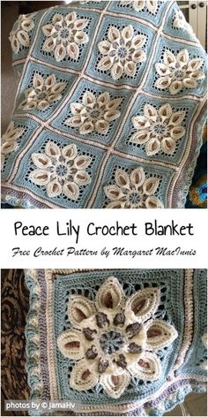 Transcendent Crochet Solid Granny Square Ideas That You Would Love Ideas - Crochet Square Patterns Peace Lily Crochet Blanket Idea - Granny Square Crochet Pattern, Afghan Crochet Patterns, Crochet Squares, Crochet Granny, Crochet Motif, Knitting Patterns, Granny Squares, Crochet Afghans, Crochet Blankets
