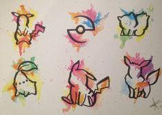 Watercolor Pokemon Tattoo Design