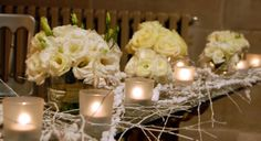 Planet Flowers / Mansfield Traquair / Faux Ice / White Willow / Snowy Eucalyptus / Table Design / Frosted Tea lights