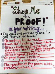 """Show Me the Proof"" anchor chart"