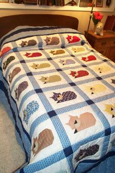 Handmade cat quilt.  Wonderful, Who would not love this on their bed!                                                                                                                                                                                 More