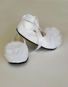 White Satin Baby Shoe - Toddler Couture Ballet Slipper - 23 colors - Satin Flower Girl Ballet Flat - Baby Girl Shoes - Baby Souls Baby Shoes