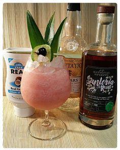 Vernedian Lady Santeria Rum, Plantation 3 Stars,Coco Real, Dashes #4, lime, pineapple, Angostura bitters.  #tikicocktails #tiki #tikidrinks #threeofstrong #rum #rhum #ron #santeria #rationalspirits #plantation #plantationrums #trinidad #barbados #jamaica #real #coco #cocoreal #dashes #dash #vernedian #barcelona