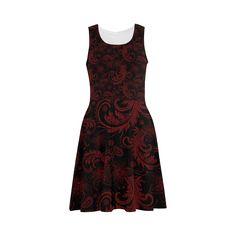 #Elegant #vintage #flourish #damasks in  #black and #red Atalanta #Sundress (Model D04) - sold at @artsadd - thanks to the customer!