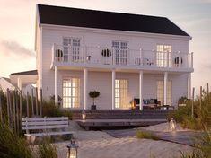 Cobb Bay - ett tvåplanshus i New Englandstil från Myresjöhus Tiny House Cabin, House With Porch, Cozy House, New England Hus, Cottage Design, House Design, Lakeside Living, House Goals, Future House