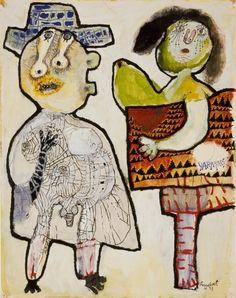 Lucebert  (1924-1994) was een Nederlands dichter en schilder. Als dichter werd hij gezien als de voorman van de beweging van de 50ers, een progressieve groep dichters die na WO 2  begon te experimenteren met vorm en inhoud. Als schilder was hij nauw betrokken bij de de experimentele Cobra-groep.  In de jaren 60 legde hij zich vooral toe op de beeldende kunst. Zijn schilderwerk, dat vooral in het begin sterk beïnvloed was door Cobra, geeft blijk van een vrij pessimistisch wereldbeeld.-(1953)